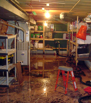 a flooded home in Sarver